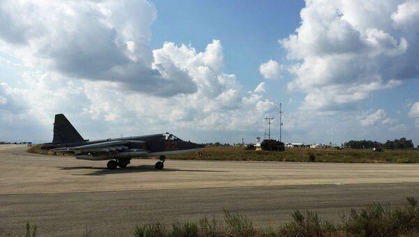 Российский самолет Су-25 на авиабазе Хмеймим в Сирии. Архивное фото