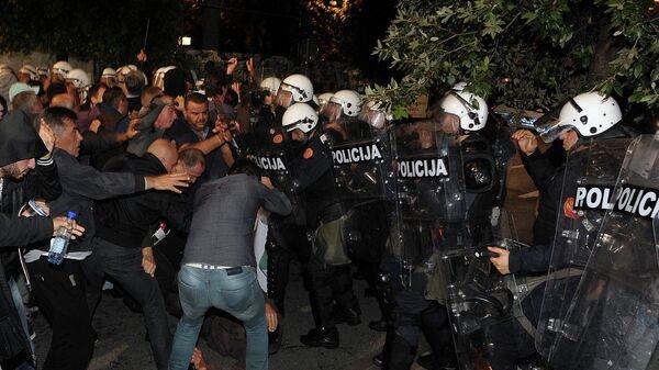 Столкновения у здания парламента в столице Черногории Подгорице. Архивное фото