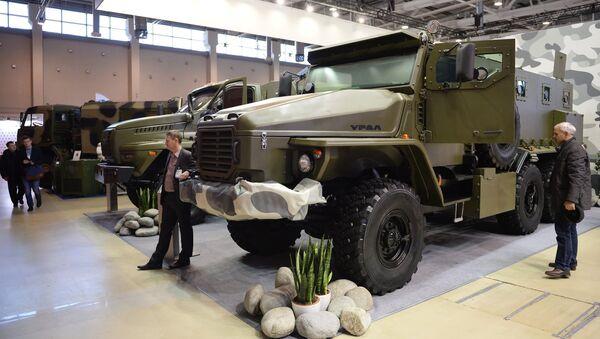 Бронированный автомобиль Урал-ВВ на Международной выставке средств обеспечения безопасности государства Интерполитех-2015 в Москве. Архивное фото