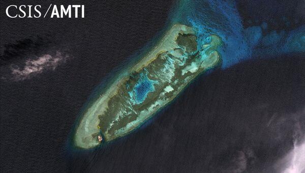 Спутниковое изображение спорных островов Спратли в Южно-Китайском море