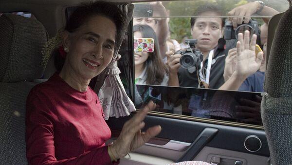 Государственный советник и фактический лидер Мьянмы Нобелевский лауреат Аун Сан Су Чжи