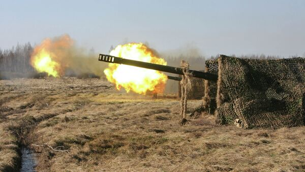 Стрельбы батареи орудий калибра 152 мм Гиацинт. Архивное фото