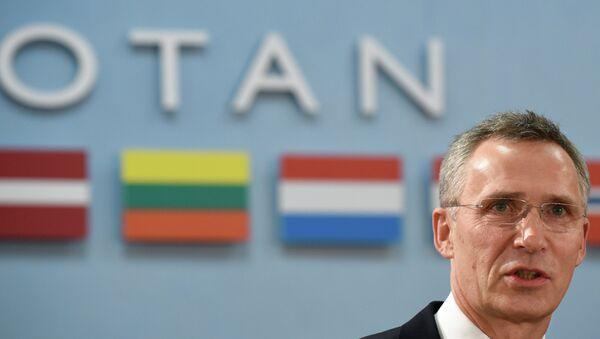 Генеральный секретарь НАТО Йенс Столтенберг на пресс-конференции в штаб-квартире НАТО в Брюсселе
