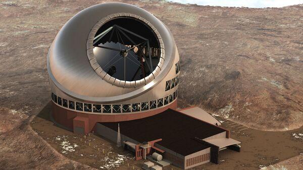 Так художник представил себе 30-метровый телескоп на горе Мауна-Кеа, разрешение на строительство которого было отозвано судом США