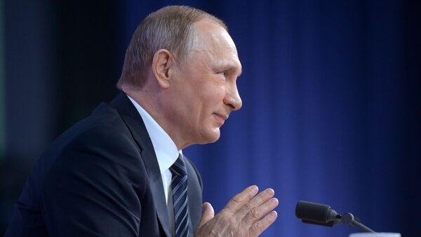 Президент России Владимир Путин на одиннадцатой большой ежегодной пресс-конференции