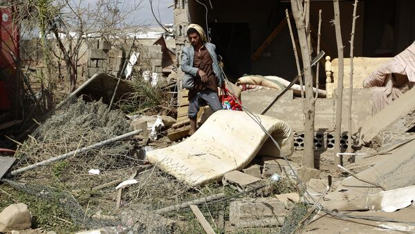 Последствия удара ВВС Саудовской Аравии по столице Йемена Сане, 6 января 2016