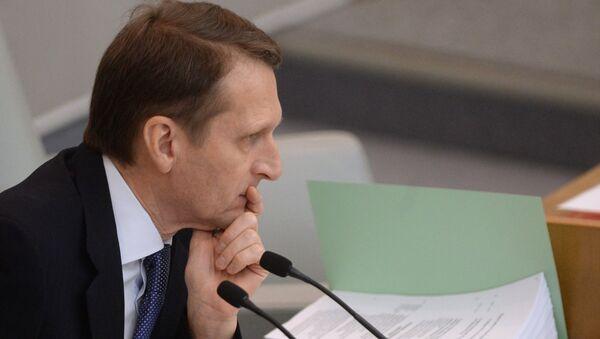 Председатель Государственной Думы РФ Сергей Нарышкин на пленарном заседании Госдумы РФ