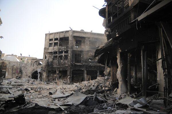 Разрушения в старом городе Алеппо. 2012 год