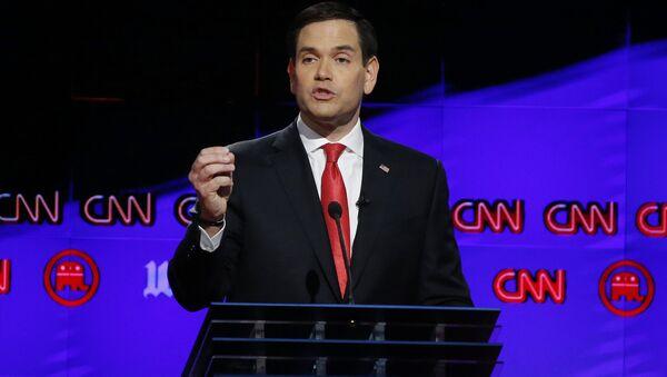 Кандидат в президенты США от Республиканской партии Марко Рубио во время предвыборных теледебатов на канале CNN. 10 марта 2016