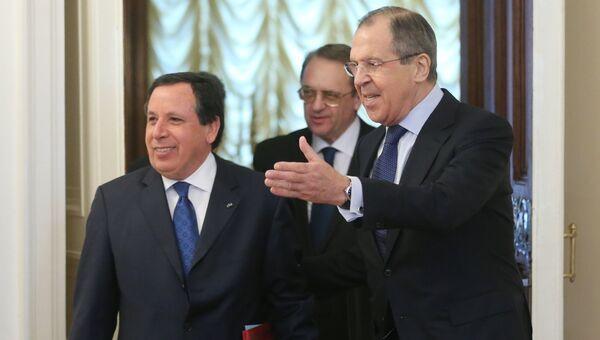 Встреча глав МИД РФ и Туниса С. Лаврова с Х. Жинауи