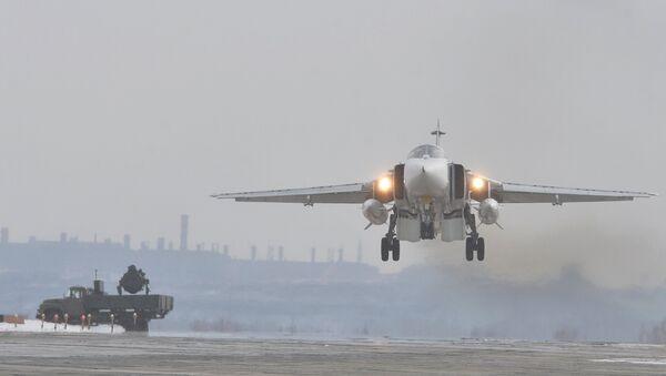 Бомбардировщик Су-24М. Архивное фото