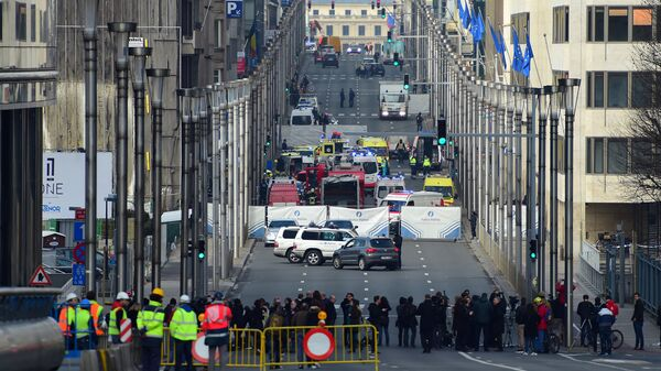 На месте взрыва в метрополитене Брюсселя. 22 марта 2016