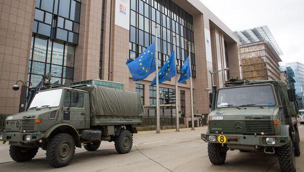 Военнослужащие обеспечивают безопасность Европейского парламента в Брюсселе