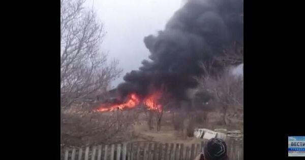 Крушение Су-25 в Приморье. Видео