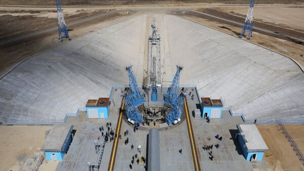 Стартовый стол после старта ракеты-носителя Союз-2.1а с тремя российскими спутниками Ломоносов, Аист-2Д и SamSat-218 с космодрома Восточный. Архивное фото