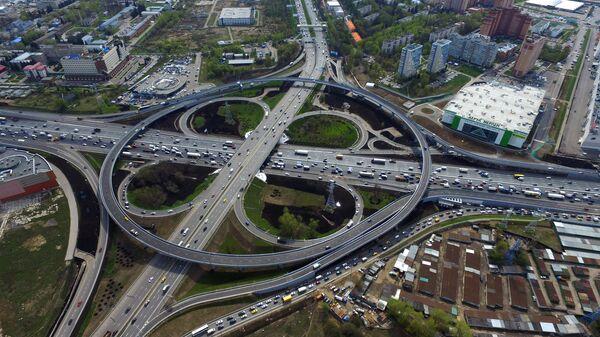 Дорожная развязка на пересечении МКАД и Каширского шоссе