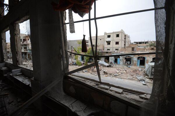 Помещения разрушенной мечети на одной из улиц Пальмиры