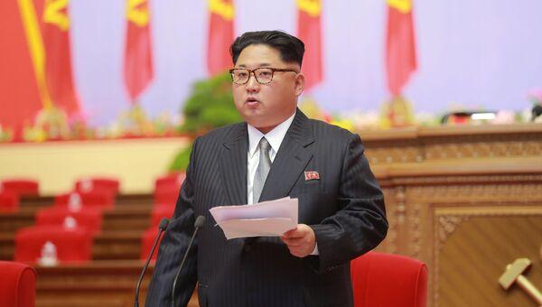 Ким Чен Ын выступает на съезде Трудовой партии Кореи