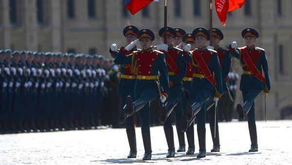 Знаменная группа парадного расчета во время военного парада на Красной площади