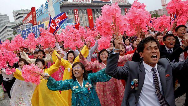Парад на главной площади в Пхеньяне, Северная Корея