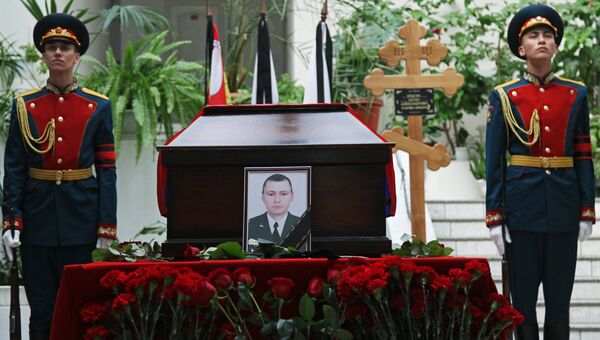 Прощание с погибшим в Сирии военным Антоном Ерыгиным. Архивное фото