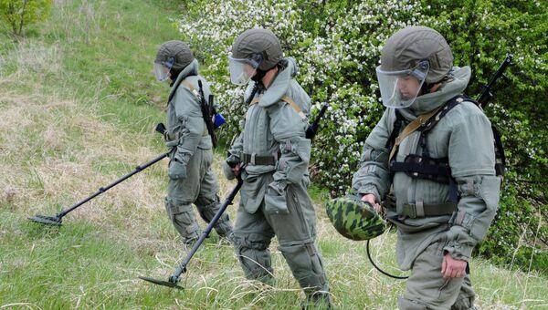 Военнослужащие на учебных занятиях сапёров. Архивное фото