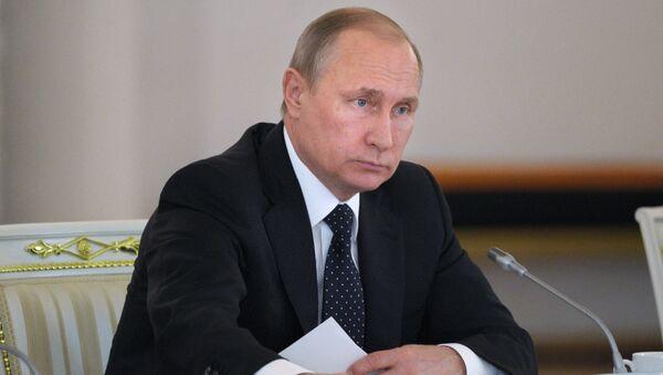Президент России Владимир Путин на заседании Государственного совета РФ по развитию строительного комплекса и совершенствованию градостроительной сферы.