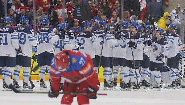 Матч 1/2 плей-офф чемпионата мира по хоккею между сборными командами Финляндии и России
