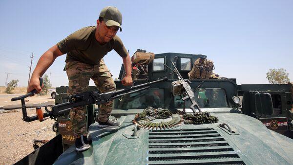 Военнослужащий армии Ирака в окрестностях города Эль-Фаллуджа, Ирак. 22 мая 2016