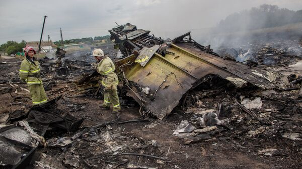 Спасатели работают на месте крушения малайзийского самолета Boeing 777 в районе города Шахтерск Донецкой области. 17 июля 2014 года
