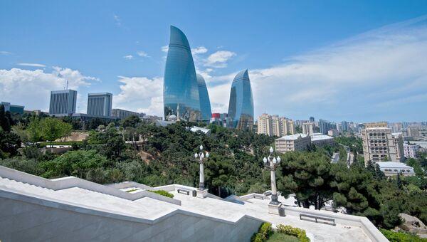Высочайшие здания в Азербайджане Пламенные башни и здание парламента в Баку. Архивное фото