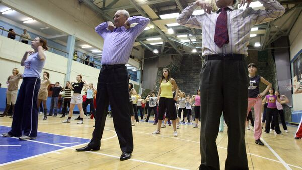 Утренняя зарядка для студентов и преподавателей Казанского государственного университета в День здоровья
