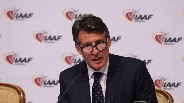 Президент Международной ассоциации легкоатлетических федераций (IAAF) Себастьян Коу на пресс конференции по итогам заседания Совета IAAF на котором было принято решение отстранить российских легкоатлетов от участия в Летних олимпийских играх 2016 в Рио-де-Жанейро