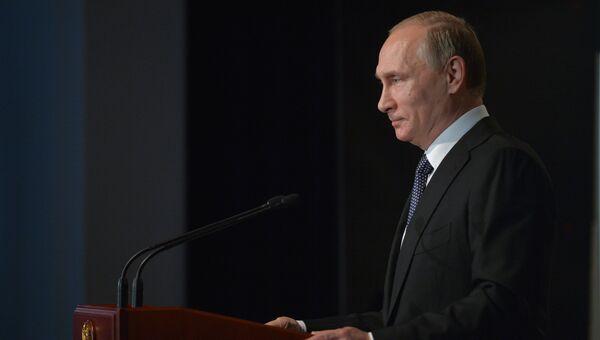 Президент России Владимир Путин выступает на первой Германо-Российской встрече в рамках международной программы Примирение над могилами – работа во имя мира. 29 июня 2016