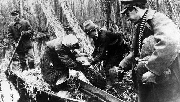 Великая Отечественная война 1941-1945 годов. Партизаны принимают хлеб