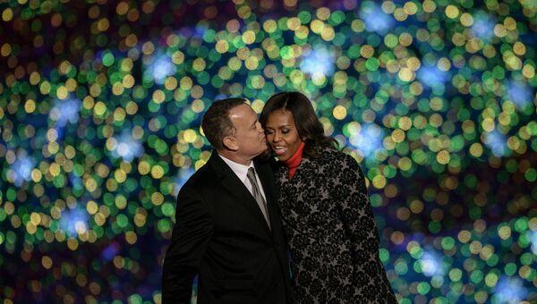 Актер Том Хэнкс и первая леди США Мишель Обама