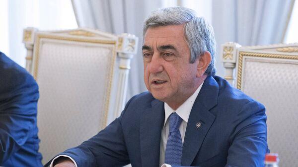 Президент Армении Серж Саргсян на встрече с Николаем Бордюжей и Сергеем Лавровым в Ереване