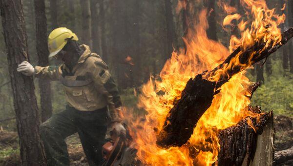Тушение лесного пожара в зоне падения самолета Ил-76. Архивное фото