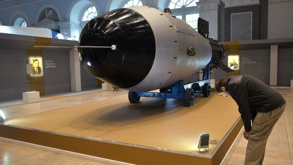 Копия водородной бомбы АН - 602 Царь-бомба, представленная в экспозиции выставки 70 лет атомной отрасли. Цепная реакция успеха