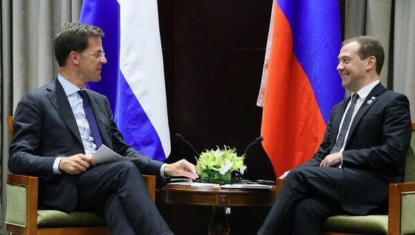 Дмитрий Медведев и премьер-министр Нидерландов Марк Рютте на саммите АСЕМ в Монголии