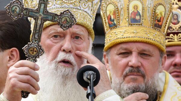 Глава Украинской православной церкви Киевского патриархата патриарх Филарет во время молебна в рамках крестного хода Украинской православной церкви в Киеве. 28 июля 2016