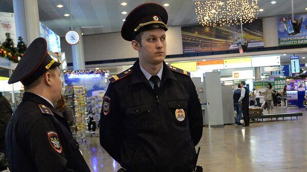 Сотрудники полиции дежурят в аэропорту Шереметьево. Архивное фото