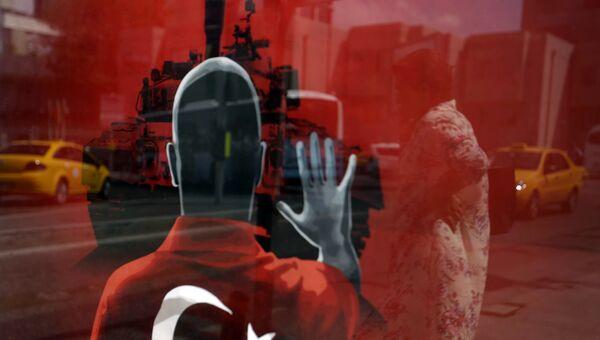 Плакат против правительственного переворота на площади Таксим в Стамбуле. Архивное фото