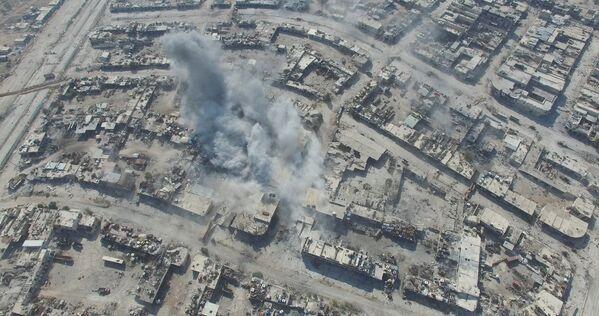 Нанесение авиаударов по позициям террористов в районе Рамусе на юго-западе Алеппо