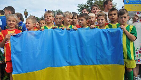 Дети на праздновании Дня Независимости Украины во Львове