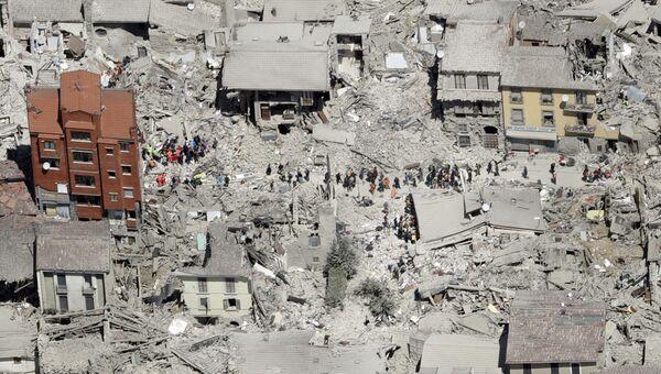 Последствия землятресения в итальянском городе Аматриче. Архивное фото