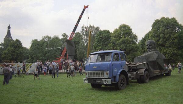 Демонтаж памятника В.И. Ленину в Юрмале. 27 августа 1991