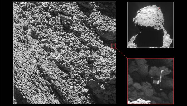 Посадочный модуль Фила на поверхности кометы