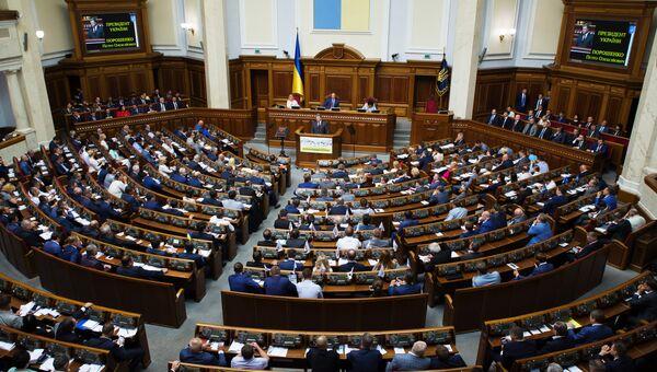 Президент Украины Петр Порошенко выступает во время заседания Верховной Рады Украины в Киеве. 6 сентября 2016
