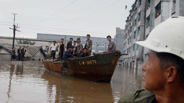 Последствия наводнения в КНДР. Архивное фото